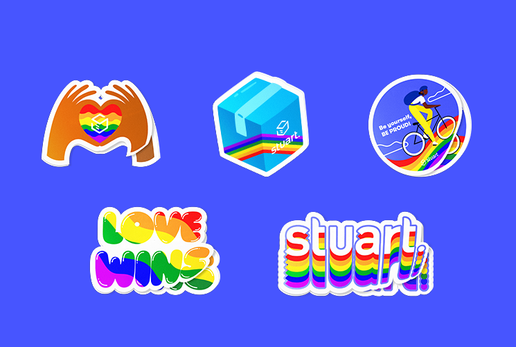 Set of 5 custom Stuart Pride stickers